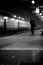 Late evening lone commuter