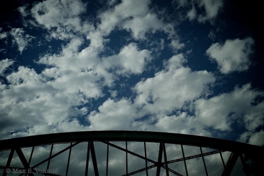 Bridge in troubled sky