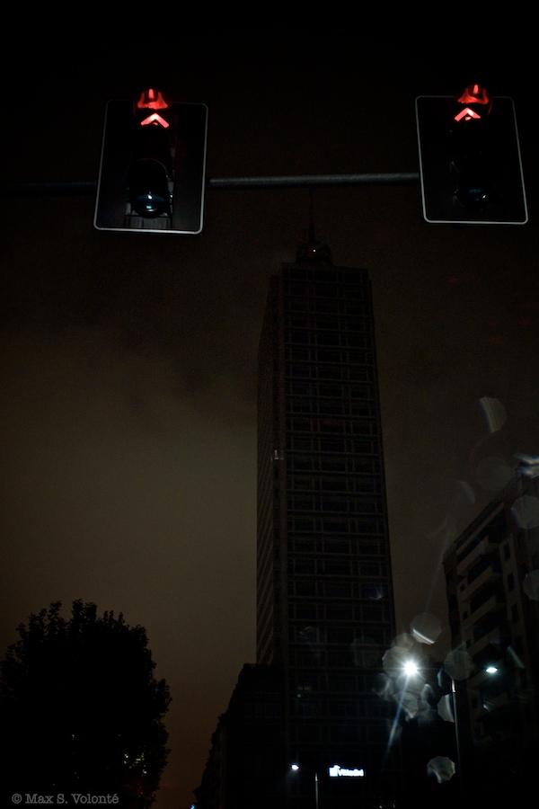 Lights at night and a skycraper