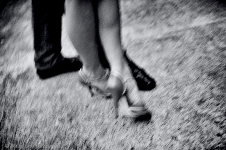 Feet of couple dancing tango