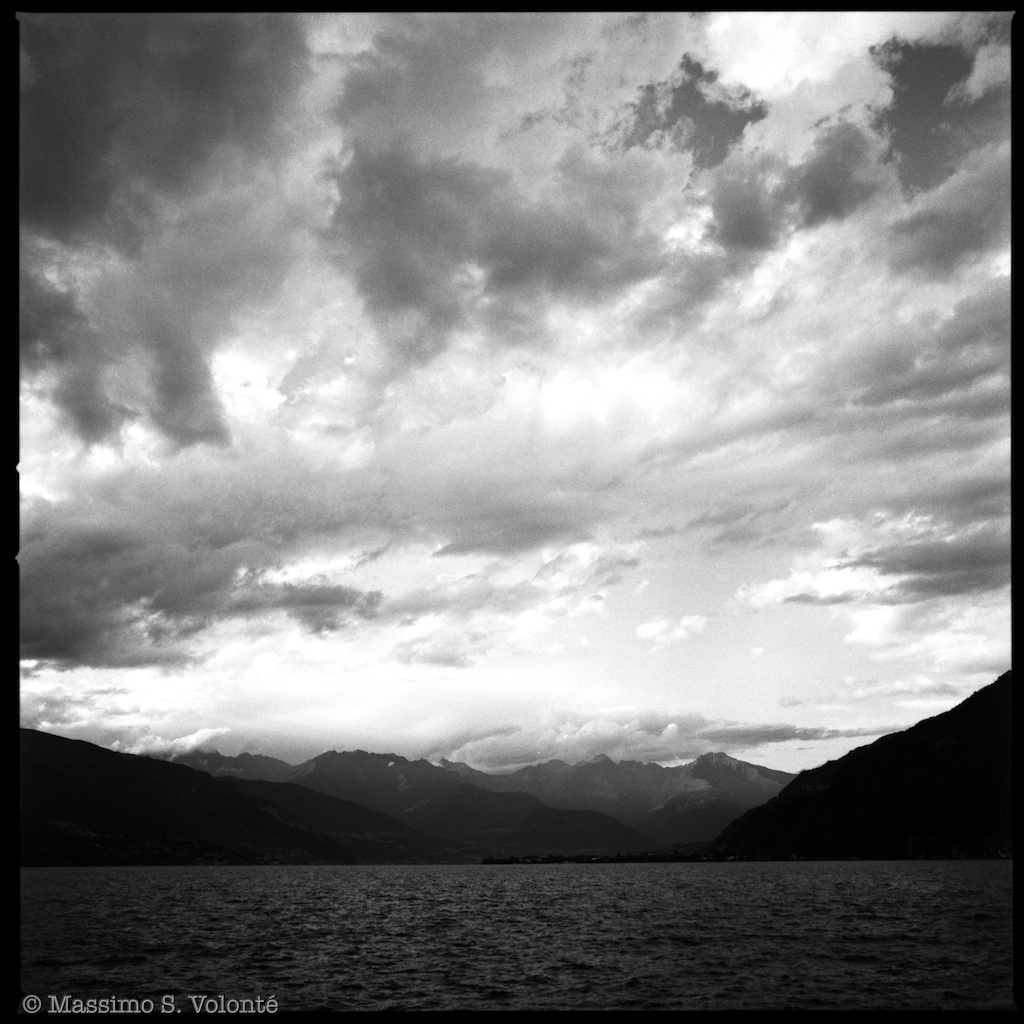 Como lake view under a cloudy sky