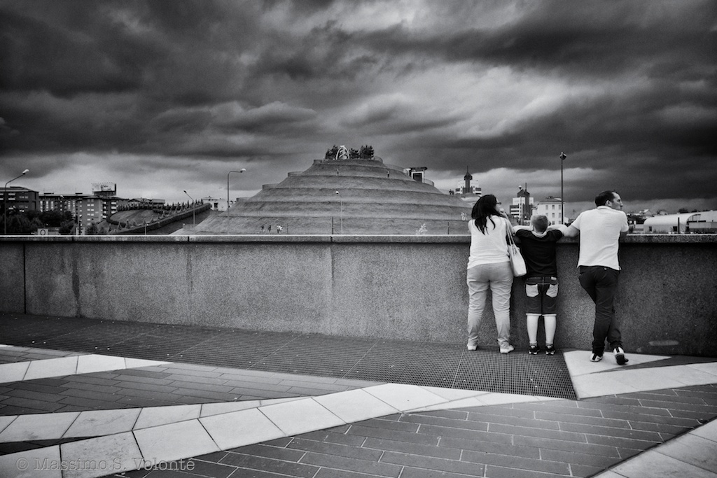 Family staring at new city scape