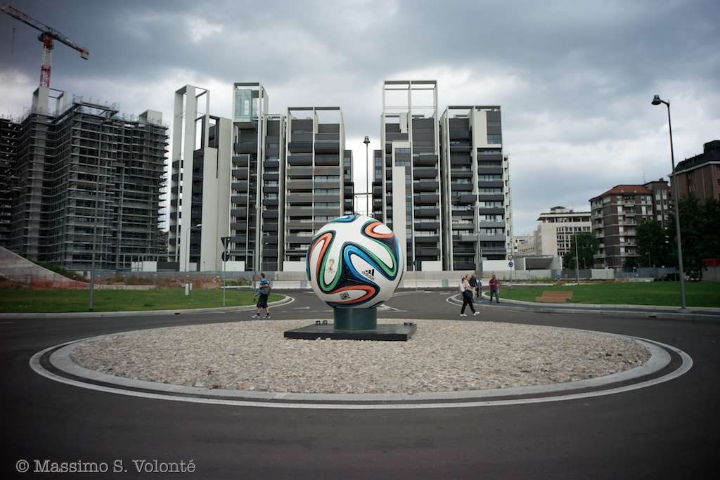 Giant football ball in a new square