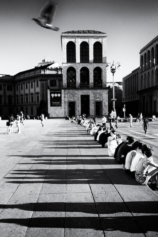 Pigeon flying over seated people in the square