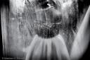 Bride's dummy behind a steamy window