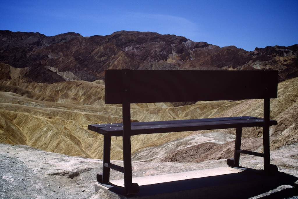 A bench overlooking Zabriskie point in Death Valley Park, USA