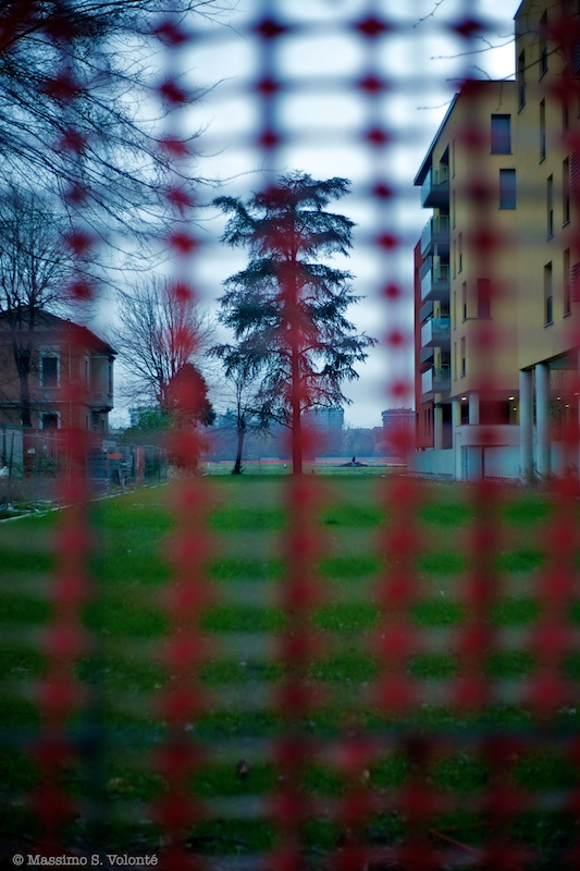 volonte fotografo milano - A garden with a tree behind a working temporary fence
