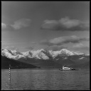 A vessel sailing the lake, black and white photography