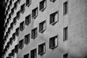 Architectural forms. Milano, Italy, monochrome