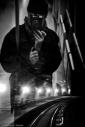 Self-portrait in the underground, monochrome, fotografo milano